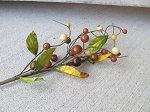 Primitive Country Rustic Fall Berries and Leaves Floral Pick