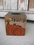 Primitive Blessings Fall Autumn Pumpkin Hand Painted Tissue Box Cover