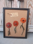 Primitive Yo Yo Fall Flowers in Frame-Hand Made