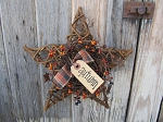 Primitive Grapevine Star with Fall Autumn Berry Wreath and Tag