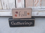 Primitive Fall Gatherings Set of 2 Hand Painted Stacker Blocks