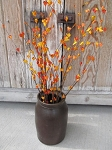 Primitive Country Rustic Fall Orange Mini Cluster Floral Pick