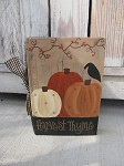 Primitive Autumn Fall Pumpkins with Bittersweet Vintage Hand Painted Book