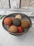 Primitive Harvest Autumn Fall Colored Rag Balls Set of 9