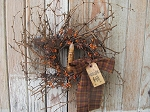 Primitive Fall Autumn Wreath with Pip Berry on Twiggy Grapevine Base with TIMER Candle
