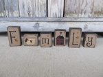 Primitive Family Wooden Blocks Set of 6 with Saltbox House Sheep and Stars