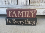 Primitive Family is Everything Set of 2 Hand Painted Stacker Blocks with Color Options