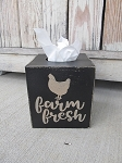 Farmhouse Primitive Rustic Farm Fresh Chicken Hen Hand Painted Tissue Box Cover