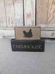 Primitive Farmhouse Stacker Blocks Set of 2 with Animal Choices