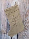 Primitive Cotton Burlap Stocking with Hand Stitched Feather Tree
