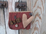 Primitive Rustic Valentine Barn Board Hanger with Tan Heart Feb. 14
