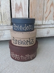 Primitive Hand Painted Freedom Fireworks Stars and Stripes Small Oval Set of 3 Stacking Boxes