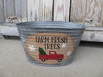 Primitive Farm Fresh Trees Red Truck Hand Painted Galvanized Oval Tub