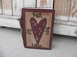 Primitive Faith Hope Love Joy Heart Hand Painted Vintage Book