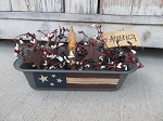 Primitive American Flag Vintage Bread Loaf Pan Light