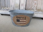 Primitive American Flag Hand Painted Galvanized Oval Tub with Saying Options