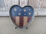 Primitive Vintage Hand Painted American Flag Heart Shaped Cake Pan