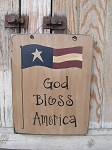 Primitive American Flag on Pole Wooden Hand Painted Sign