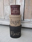 Primitive Flour Sugar Coffee Hand Painted Set of 3 Oval Stacking Boxes