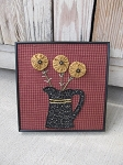 Primitive Flower Pitcher Frame with Printed Fabric Background