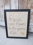 Primitive Friends are Flowers Stitchery Frame with Vintage Button Flowers