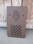 Primitive Willow Tree and Stars Checker Game Board 12x8