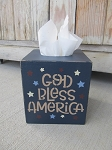 Primitive Americana Patriotic God Bless America Hand Painted Tissue Cover Cover with Stars