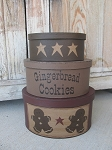 Primitive Country Gingerbread Cookies and Stars Set of 3 Oval Stacking Boxes