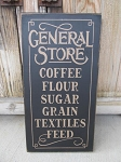 Primitive Farmhouse General Store Hand Painted Vertical Sign with Color Options