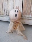 Primitive Halloween Ghost on Rusty Bed Spring Hand Made