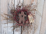 Primitive Twiggy Burgundy Pip Berry and Rusty Star Wreath with Gingerbread Cut-Out and Tag