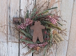 Primitive Winter Twiggy German Pine Berry and Rusty Star Wreath with Gingerbread Cut-Out and Tag