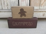 Primitive Hand Painted Gingerbread Stacker Blocks Set of 2