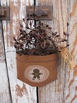 Primitive Country Gingerbread Hand Painted Rusty Tin Hanging Pocket