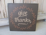 Primitive Fall Autumn Thanksgiving Give Thanks with Wreath Hand Painted Sign with Color Options