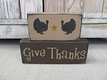 Primitive Give Thanks Thanksgiving Turkey Set of 2 Hand Painted Stacker Blocks