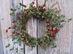 Primitive Christmas Eucalyptus and Red Berry Wreath with Rusty Bells and Pinecones