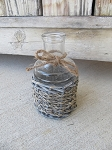 Farmhouse Primitive Seagrass Glass Bottle with Jute