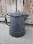 Vintage Antique Grey Speckle Enamelware Coffee Pot