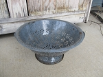 Antique Primitive Graniteware Grey Enamelware Colander Strainer