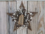 Primitive Grapevine Star with Cream Berry Wreath and Tag