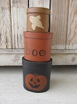 Primitive Halloween Jack O Lantern and Ghost Set of 3 Oval Stacking Boxes