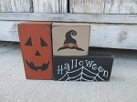 Primitive Halloween Jack O Lantern Spider Web Witch Hat Set of 3 Stacking Blocks