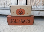 Primitive Halloween Jack O Lantern Set of 2 Hand Painted Stacker Blocks