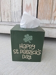 Primitive Hand Painted Happy St. Patrick's Day with Clover Tissue Box Cover with Color Options