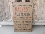 Primitive Fall Autumn Harvest Celebration Bobbing for Apples Pumpkin Carving Barn Dance Hand Painted Sign with Color Options