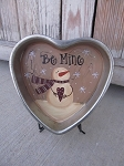 Primitive Vintage Hand Painted Be Mine Snowman Heart Shaped Cake Pan