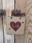 Primitive Personalized Valentine's Day Heart Sign Plaque with Initials