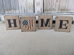Primitive HOME with American Flag Heart Wooden Block Set of 4