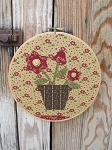 Primitive Hand Made Flowers in Flower Pot  Embroidery Hoop Frame